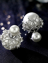 Imitation Pearl Lace Stud Earrings Ball Earrings Jewelry Wedding Party Daily Casual Alloy 1 pair Silver