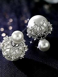preiswerte -Damen Imitierte Perlen Ohrstecker - Klassisch Weiß / Rot Ohrringe Für Hochzeit / Party / Alltag / Imitierte Perlen / Ohrstecker