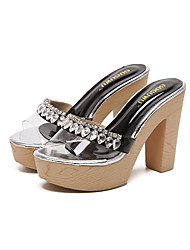 Heels Sandals Comfort Silica Gel Spring Summer Fall Dress Party & Evening Rhinestone Chunky Heel Black Almond 4in-4 3/4in