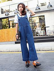 знак зима новых корейских женщин сиамских Sling ремень свободные брюки широкие ноги брюки джинсовые брюки колледжа ветер