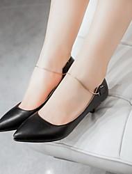 baratos -Mulheres Sapatos Courino / Couro Ecológico Primavera / Verão Conforto / Inovador Saltos Caminhada Salto Agulha Dedo Apontado Preto /