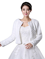 cheap -Long Sleeves Faux Fur Wedding Party/Evening Fur Coats Fur Wraps Wedding  Wraps Coats/Jackets