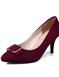 Feminino Sapatos Flanelado Primavera Outono Conforto Saltos Salto Agulha Dedo Apontado Laço Presilha Para Preto Azul Escuro Vinho