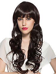 Long Water Wave Synthetic Fiber Wavy With Air Bangs Costume Cosplay Wigs Stylish For Women