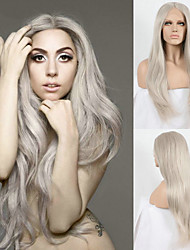 cheap -Long Grey Synthetic Lace Front Wigs Celebrity Style Ladygaga's Wig Platinum Ash Grey Hair Natural Straight Heat Resistant Front Lace Wig