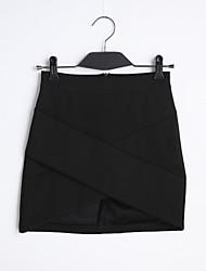 Röcke,Bodycon einfarbigLässig/Alltäglich Einfach Tiefe Hüfthöhe Mini Elastizität Baumwolle Micro-elastisch Riemengurte Sommer
