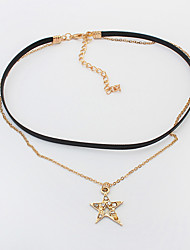 Women's Choker Necklaces Rhinestone Alloy Star Double-layer Fashion Gold Silver Jewelry Daily 1pc