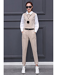 2017 spring new fashion doll collar lantern sleeve shirt was thin leisure feet pants two-piece women