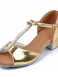 cheap -Kids Dance Shoes Synthetic Synthetic Latin Sandals Heels Chunky Heel Performance Silver Gold Customizable