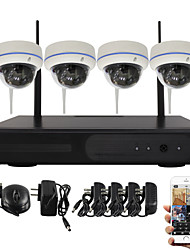 YanSe® 1.3MP PNP Wireless Dome NVR Kit IR Night Vision 15led WIFI IP Camera CCTV System (4pcs wifi Camera/HDMI/960P)
