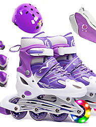 cheap -Inline Roller Skates for Kids with Free Helmet & Knee Pads Set Breathable Adjustable