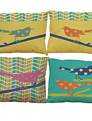 cheap -Set of 4 Oil painting bird  pattern Linen Pillowcase Sofa Home Decor Cushion Cover