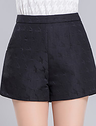 Women's Plus Size Wide Leg Chinos Shorts Pants,Casual/Daily Work Sexy Simple Cute Solid Jacquard High Rise Zipper Cotton Spandex