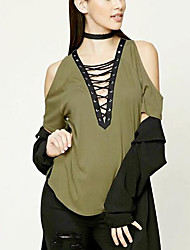 cheap -Women's Daily Street chic Summer T-shirt,Solid Off Shoulder Sleeveless Cotton Medium
