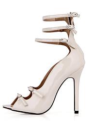 Feminino-Sandálias-Conforto Light Up Shoes-Salto Agulha-Preto Marfim-Couro Ecológico-Escritório & Trabalho Social Festas & Noite