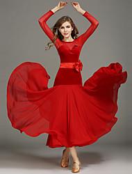 Danse de Salon Robes Femme Spectacle Mousseline Velours Ceinture/Ruban Fantaisie 2 Pièces Manche longue Taille moyenneRobe Ceinture de