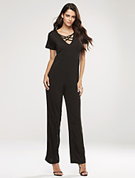 Women's Wide Leg Sexy Beach Casual Party Work V Neck Short Sleeve Plus Size Jumpsuits (L-XXXL)