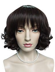 Dark Auburn Short Bob Wig Synthetic Fiber Wig Hairstyle Natural Wavy Costume Wig Cosplay Wigs