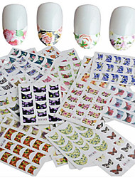 cheap -44pcs/set Water Transfer Sticker / Nail Sticker Nail Stamping Template Nail Art Design / Flower Set Flower / Nail Decals