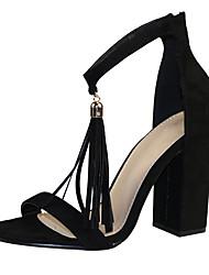 Feminino-Sandálias-Sapatos clube-Salto Grosso--Tecido-Social Casual Festas & Noite