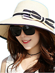 cheap -Summer Ladies Shade Sunscreen Woven Straw Bow Beach Outdoor Travel Hat
