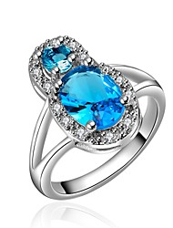 Ring Special Occasion Daily Casual Jewelry Crystal Zircon Copper Gold Plated Ring 1pc,7 8 Light Blue