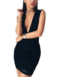 Women's Daily Club Sexy Simple Bodycon See-through DressGeometric Over Hip Deep V Mini Sleeveless Summer High Rise Micro-elastic Medium