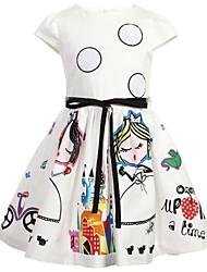 cheap -Girl's Beach Dress, Cotton Summer Sleeveless Floral White
