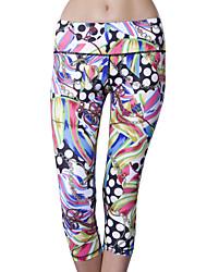 baratos -Queen Yoga Mulheres Sem Manga Respirável Compressão Redutor de Suor Calças 3/4 calças justas para Ioga Elastano Terylene S M L