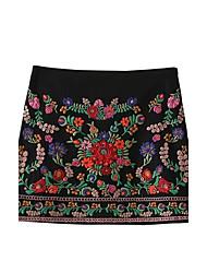 Damen Niedlich Street Schick Mittlere Hüfthöhe Über dem Knie Röcke A-Linie Bodycon,Bestickt einfarbig Blumen Druck
