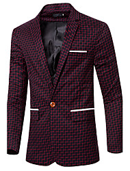 Men's Going out / Casual/Daily / Formal Vintage / Simple / Street chic Fall / Winter Blazer,Solid Notch Lapel Long Sleeve Black / Green