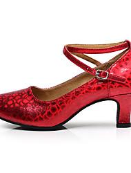 Scarpe da ballo-Non personalizzabile-Da donna-Salsa-Tacco cubano-Di pelle Vernice Brillantini Sintetico-Rosso Argento Dorato