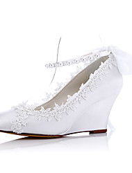 Heels Spring Summer Fall Comfort Fabric Wedding Party & Evening Dress Wedge Heel Applique White