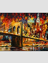 cheap -Oil Paintings Modern Landscape Rainy Street Canvas Material With Wooden Stretcher Ready To Hang Size55*85CM.