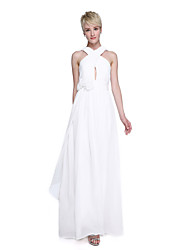 cheap -A-Line Straps Floor Length Chiffon Bridesmaid Dress with Flower(s) Criss Cross Ruching by LAN TING BRIDE®