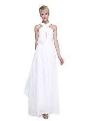 baratos -Linha A Correias Longo Chiffon Vestido de Madrinha com Cruzado / Franzido / Flor de LAN TING BRIDE®