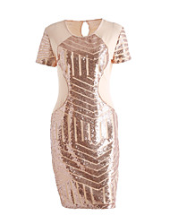 Women's Sequin Casual/Daily / Club Sexy / Street chic Bodycon DressPatchwork Sequins Round Neck Above Knee Short Sleeve Summer / FallMid