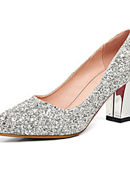 cheap -Women's Shoes Synthetic Spring Summer Fall Club Shoes Heels Chunky Heel Pointed Toe Sequin for Wedding Party & Evening Dress Gold Silver
