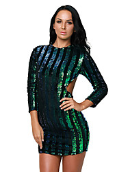 Women's Sequin|Cut Out|Backless Silver Sequins Hollow-out Club Dress