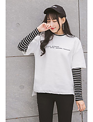 2017 molla nuovo maglione lettere falso due femmine maglietta a strisce ricamate