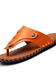 preiswerte -Herrn Schuhe Nappaleder Frühling Sommer Herbst Komfort Slippers & Flip-Flops Wasser-Schuhe für Normal Büro & Karriere Draussen Hellbraun
