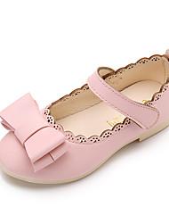 Girls' Sandals Spring Summer PU Wedding Dress Party & Evening Flat Heel Bowknot White Black Blushing Pink