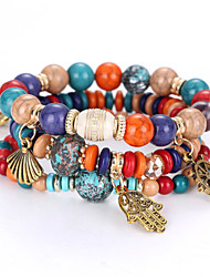 cheap -Women's Strand Bracelet - Personalized Natural Multi Layer Balance of the Power Fashion Beaded Ball White Black Rainbow Red Blue Bracelet