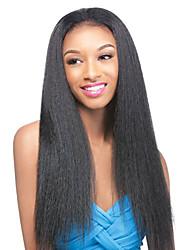 Elegant Yaki Straight Human Hair Wigs Long For Black Woman Lace Front Virgin Hair High Density Wig No Shedding Medium Brown Lace Cap