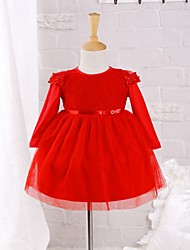 cheap -Baby Daily Solid Dress Cotton Nylon Spring/Autumn Dress