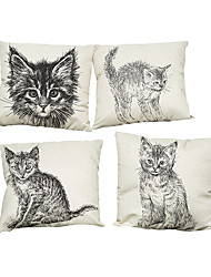 cheap -Set of 4 Hand painted cat pattern Linen Pillowcase Sofa Home Decor Cushion Cover