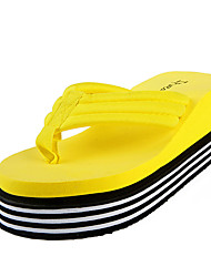 Women's Slippers & Flip-Flops PU Summer Casual Outdoor Flat Heel White Black Yellow Fuchsia Flat