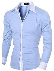 Herren Solide Einfach Formal Arbeit Lässig/Alltäglich Hemd,Hemdkragen Alle Saisons Langarm Blau Rosa Weiß Schwarz Grau Baumwolle Polyester