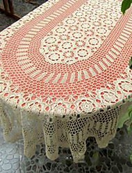 cheap -Handmade Crocheted Tablecloth Handmade Crochet Lace Tablecloth Vintage Table Cover 67X103(170X260CM) OVAL!