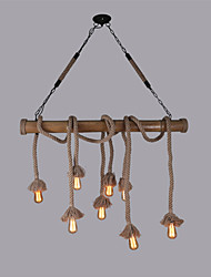 cheap -8 Heads 100cm Vintage Hemp Rope With Bamboo Pendant Lights Creative Industrial Lamp Living Room Restaurant